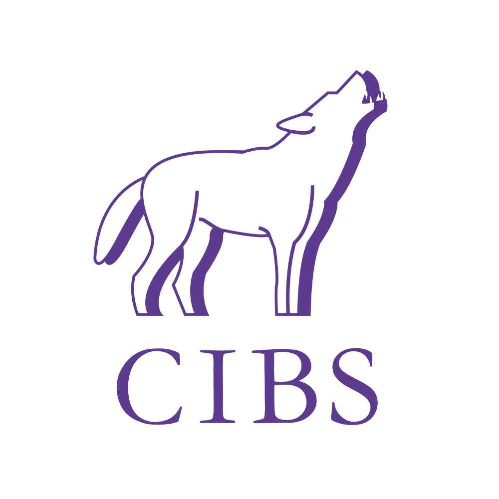 CIBS Logo - a cute wolf howling, because all wolves are cute