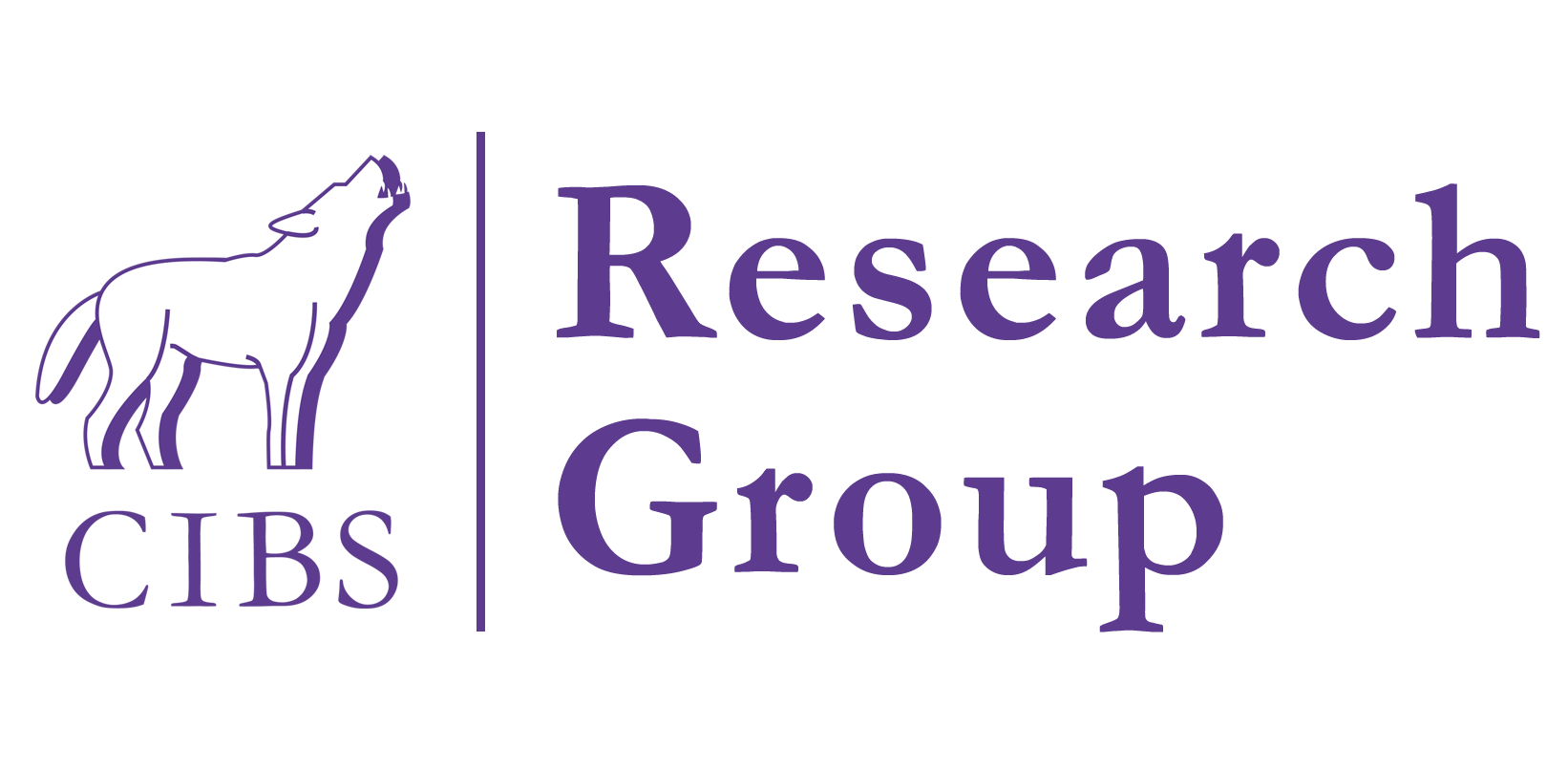 CIBS Research Group Logo - a cute wolf howling, because all wolves are cute